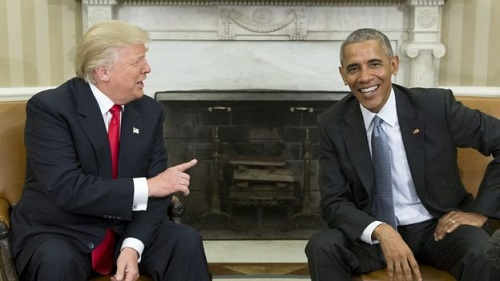 Donald Trump and Barack Obama meet in the White House
