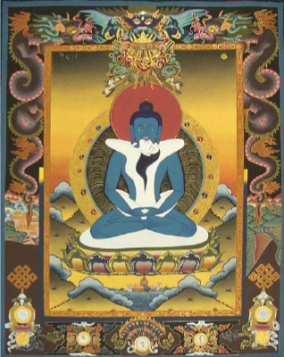 Adi Buddha Samantabhadra in sexual union with consort.